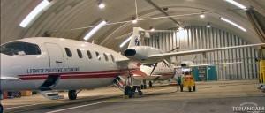 Lekkie samonośne łukowe hangary lotnicze (arch prefabricated building) - hangar lotniczy TG Hangars dla lotnictwa cywilnego (LPR) na lotnisku EPWA (Warszawa).