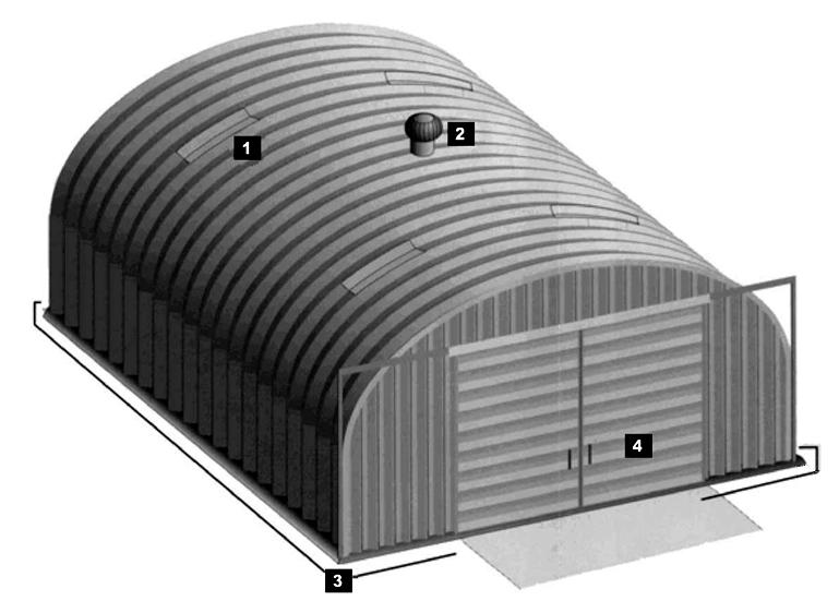 Lekkie hangary łukowe - akcesoria systemowe hal łukowych są dostępne dla wszystkich hangarów prefabrykowanych .