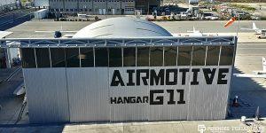 Lekkie samonośne hangary łukowe (arch prefabricated building) - hangar obsługowy TG Hangars dla General Aviation na lotnisku LCLA (Larnaca International Airport)
